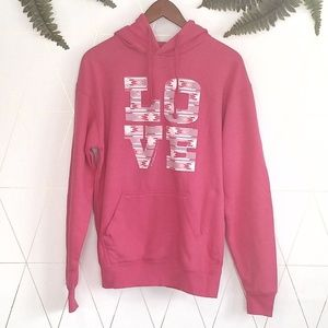 Tops - NWT mardell pink love hoodie with bible verse. med